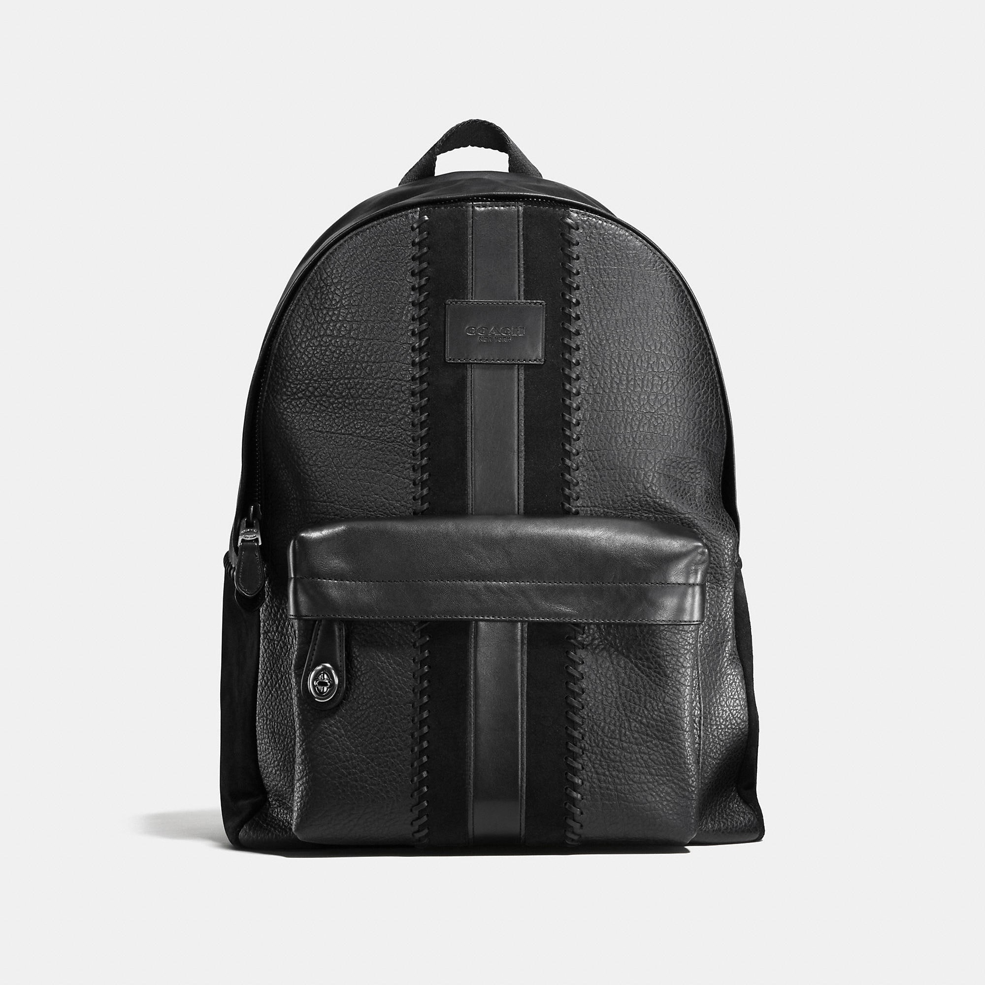 Coach Campus Backpack Rip And Repair With Varsity Stripe