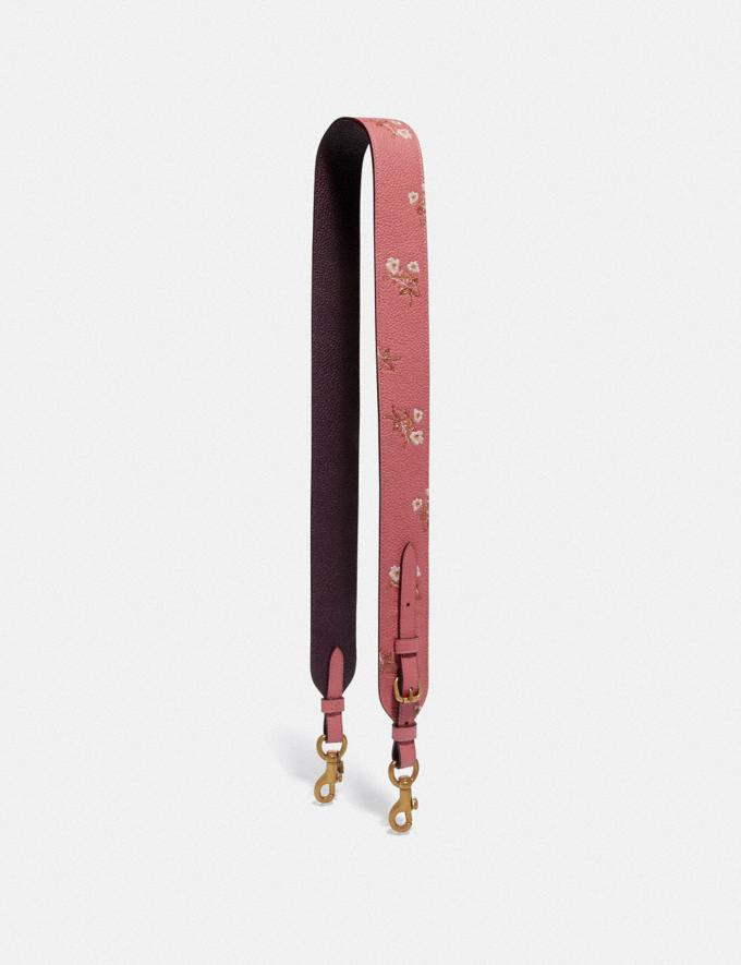 Coach Strap With Floral Print Bright Coral/Brass Women Accessories