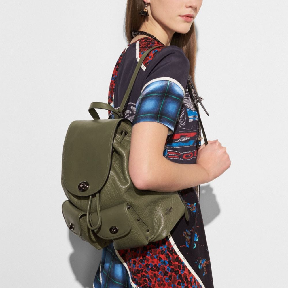 Turnlock Rucksack in Mixed Leathers - Alternate View A3