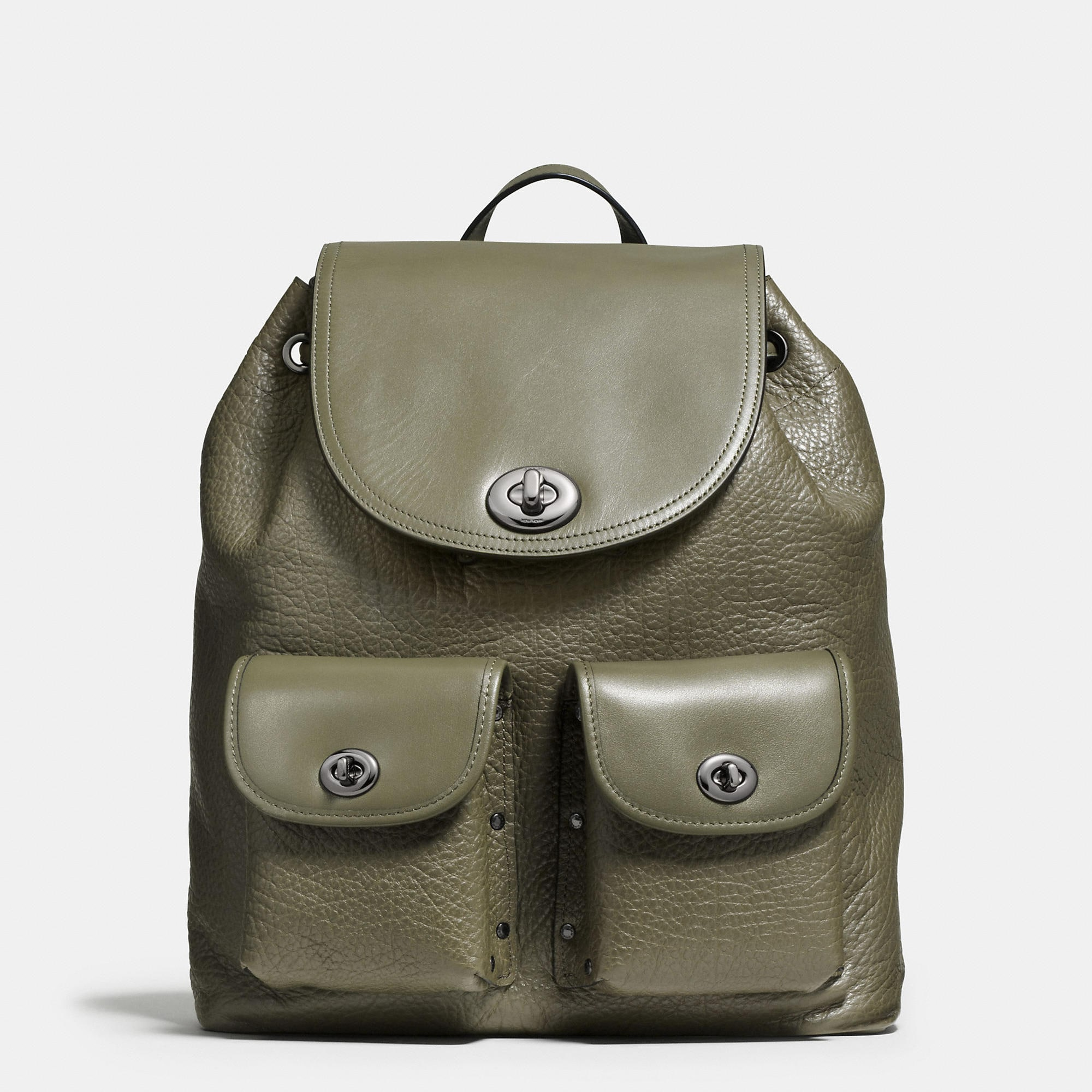 Coach Turnlock Rucksack In Mixed Leathers