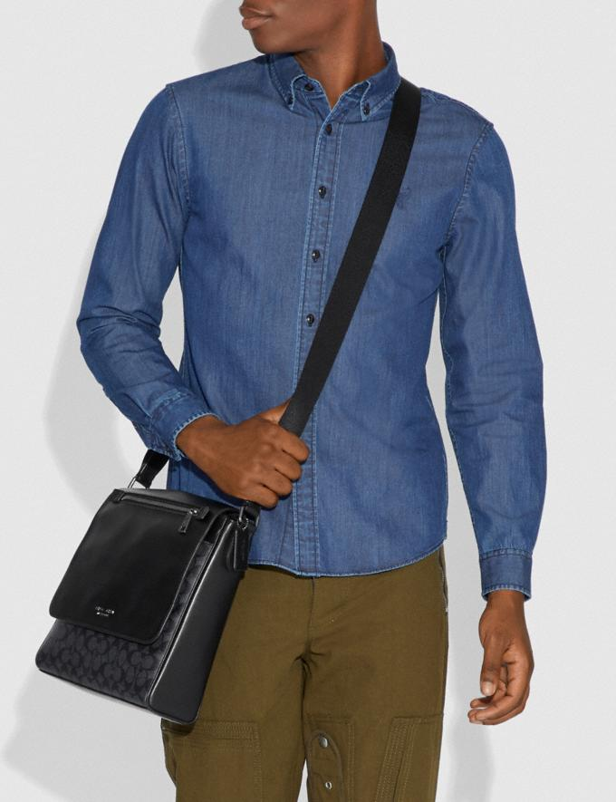 Coach Kennedy Map Bag in Signature Canvas Charcoal/Black Antique Nickel Men Bags Messenger & Crossbody Alternate View 3