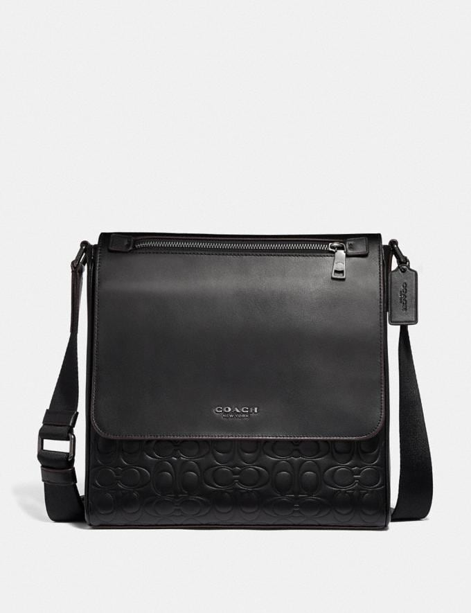 Coach Kennedy Map Bag in Signature Leather Black/Black Antique Nickel Men Bags Messenger Bags