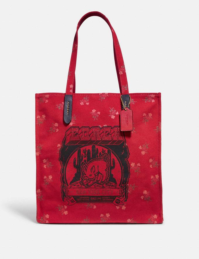 Coach Lunar New Year Tote With Pig Motif Jasper/Gold Women Bags Totes