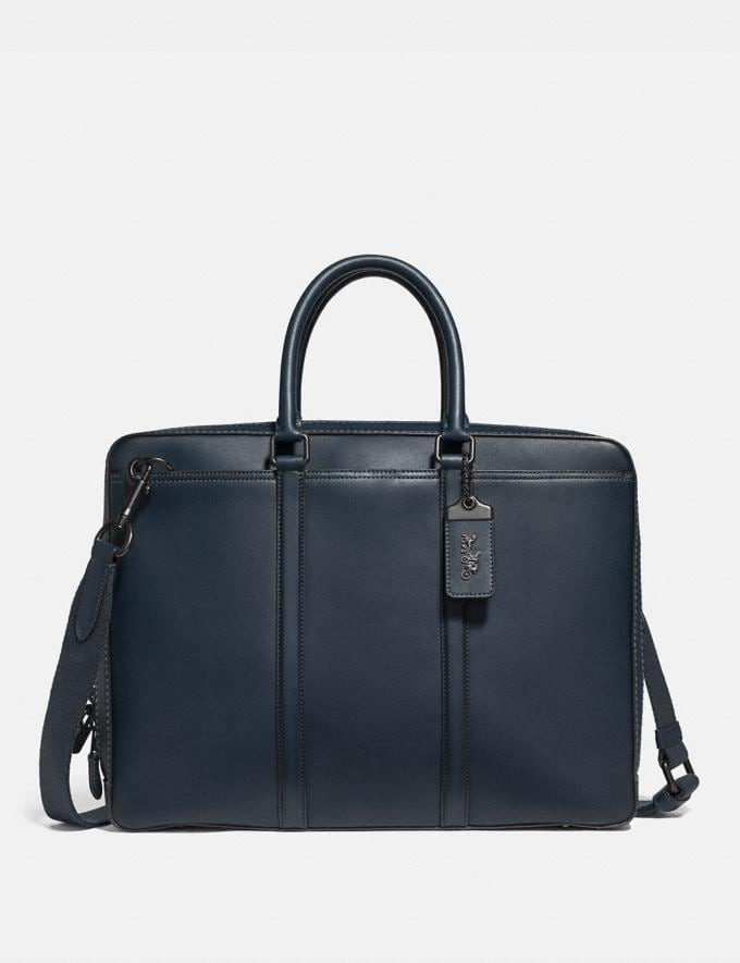 Coach Metropolitan Slim Brief Midnight Navy/Black Copper Men Bags Briefcases