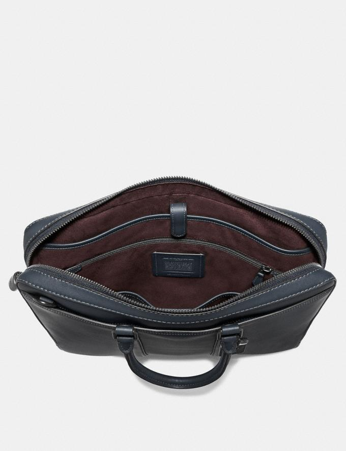 Coach Metropolitan Slim Brief Midnight Navy/Black Copper Men Bags Briefcases Alternate View 2