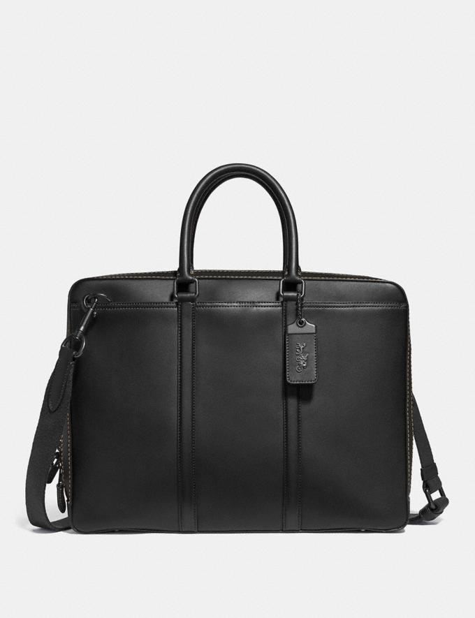 Coach Metropolitan Slim Brief Black/Black Copper Men Bags Briefcases