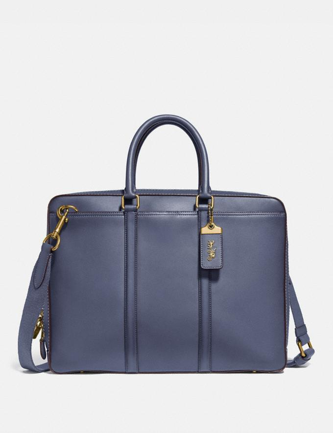 Coach Porte-Documents Fin Metropolitan Laiton/Brun Bleu Homme Sacs Porte-documents