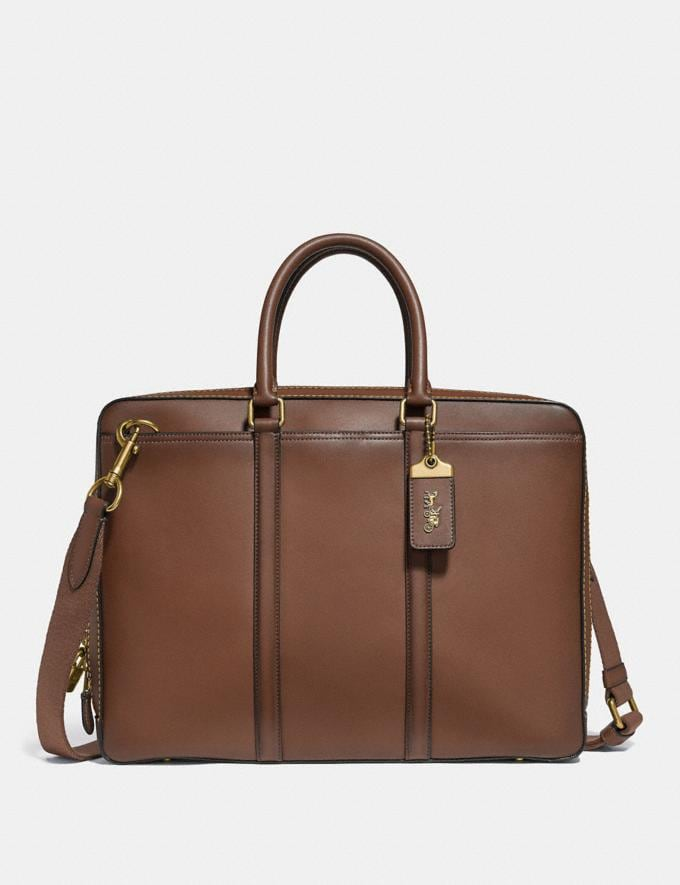 Coach Metropolitan Slim Brief Saddle/Brass SALE Men's Sale