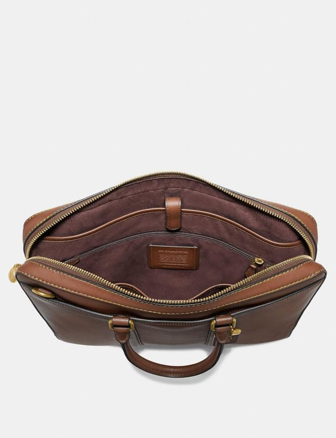 Coach Metropolitan Slim Brief Saddle/Brass Men Edits Work Alternate View 3