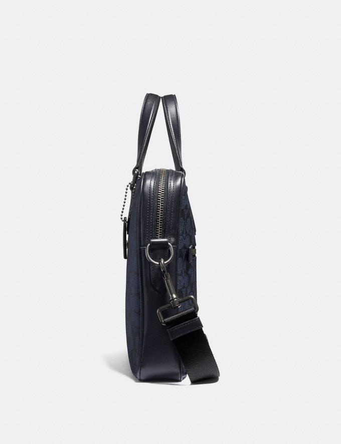 Coach Kennedy Brief in Signature Canvas Qb/Midnight Navy Men Bags Briefcases Alternate View 1