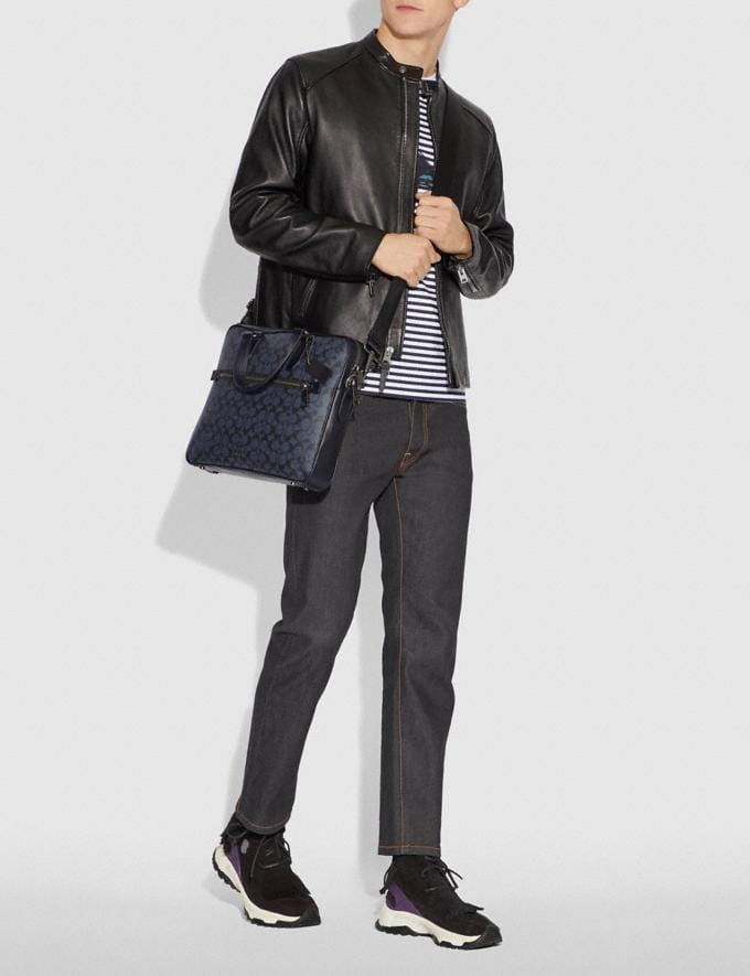 Coach Kennedy Brief in Signature Canvas Qb/Midnight Navy Men Bags Briefcases Alternate View 3