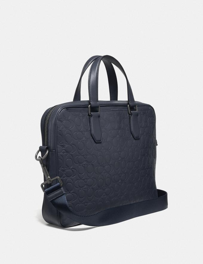 Coach Kennedy Brief in Signature Leather Midnight Navy/Black Antique Nickel Men Bags Briefcases Alternate View 1