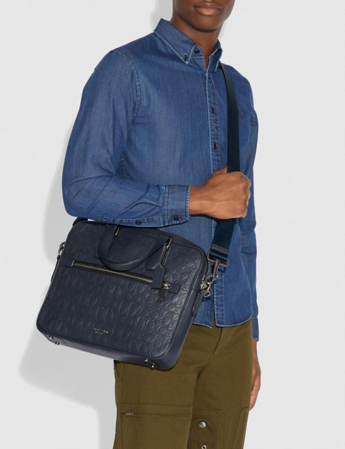 Coach Kennedy Brief in Signature Leather Midnight Navy/Black Antique Nickel Men Bags Briefcases Alternate View 3