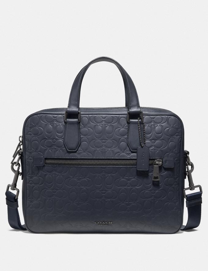 Coach Kennedy Brief in Signature Leather Midnight Navy/Black Antique Nickel Men Bags Briefcases