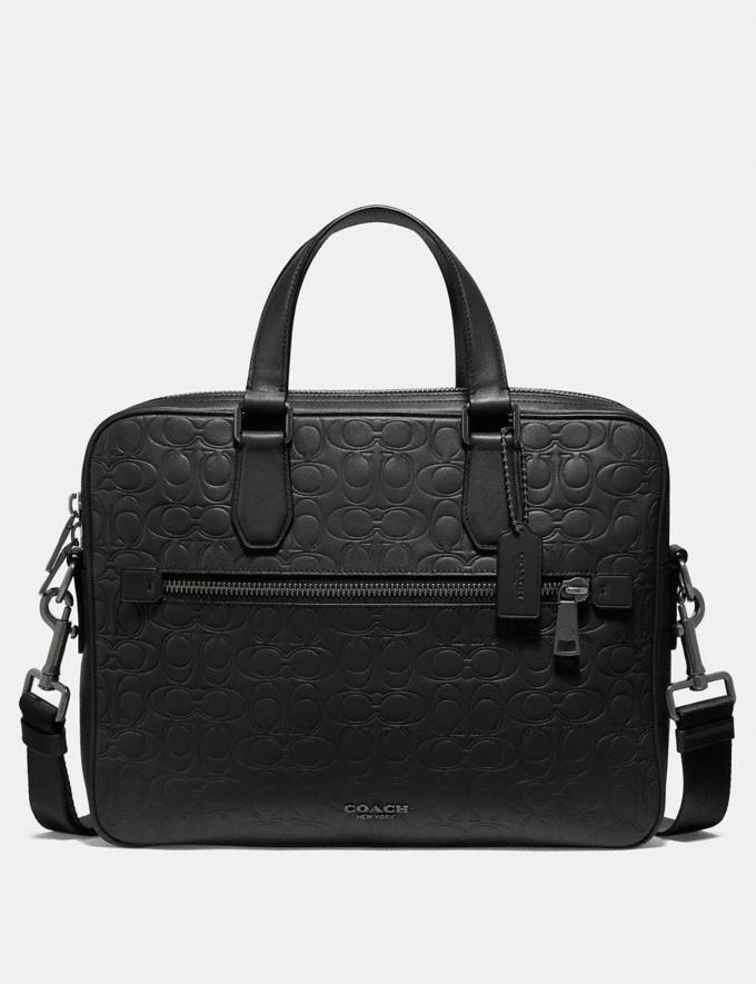 Coach Kennedy Brief in Signature Leather Black/Black Antique Nickel Men Bags Briefcases