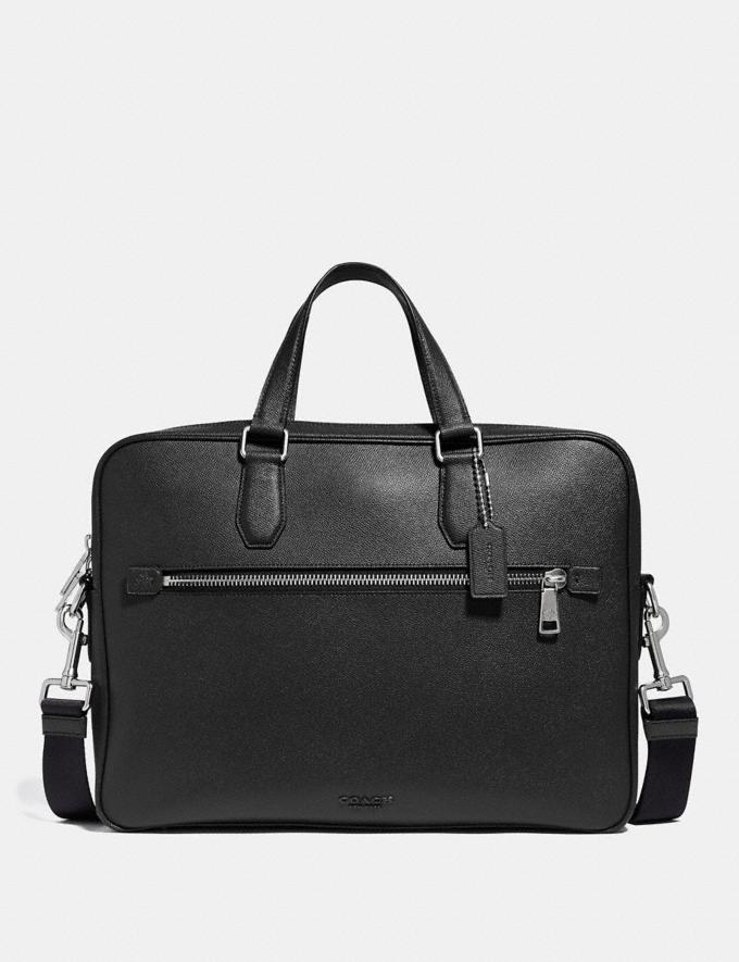 Coach Porte-Documents Kennedy 40 Noir/ArgentÉ Homme Sacs Porte-documents