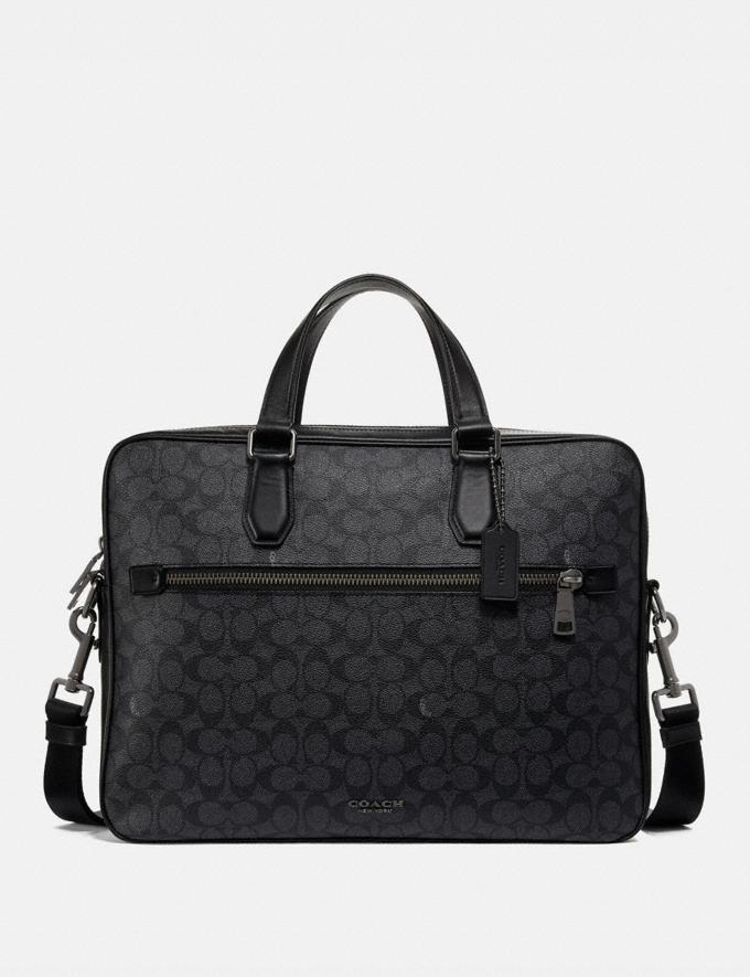 Coach Kennedy Brief 40 in Signature Canvas Charcoal/Black Antique Nickel New Men's New Arrivals Bags