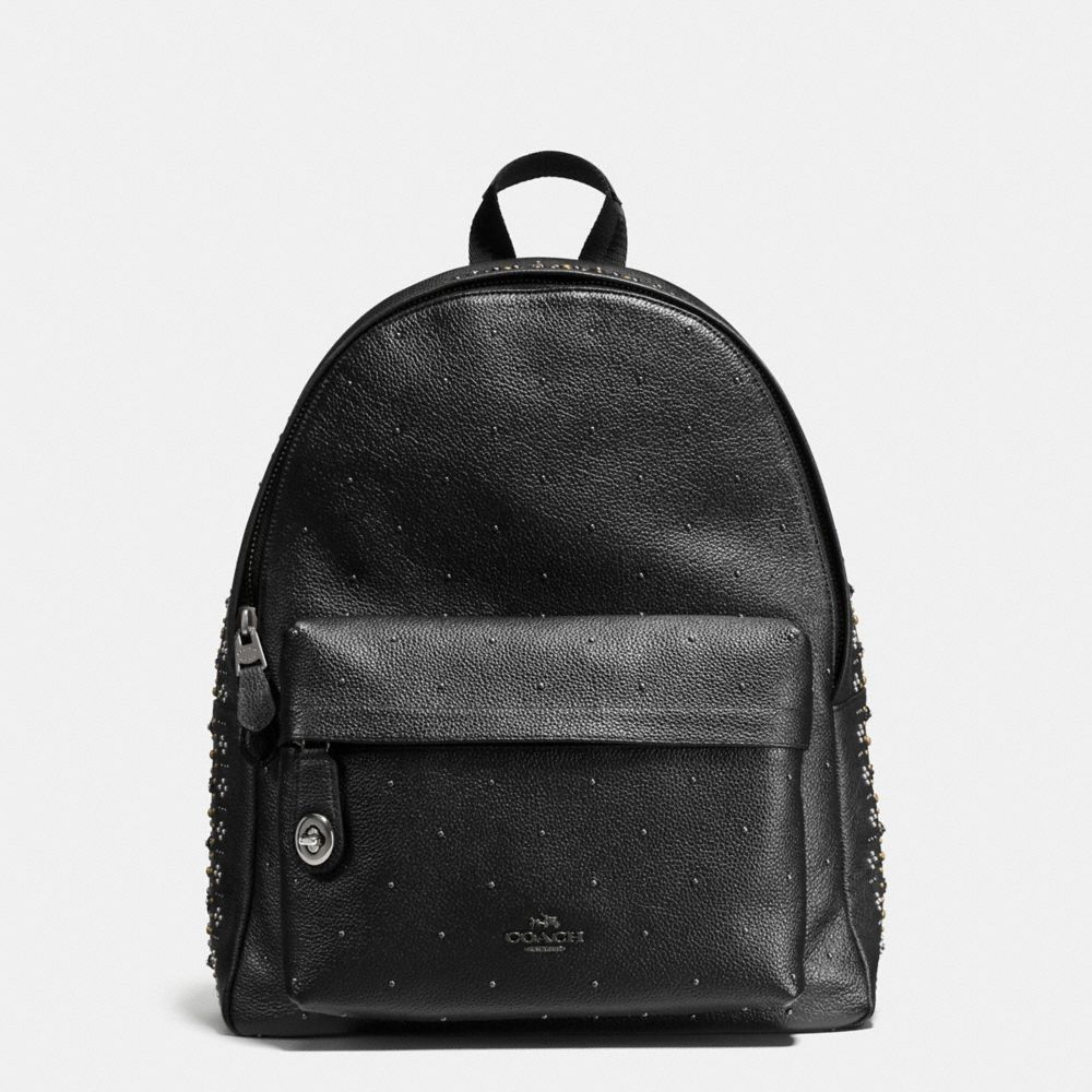 BANDANA RIVETS CAMPUS BACKPACK IN PEBBLE LEATHER