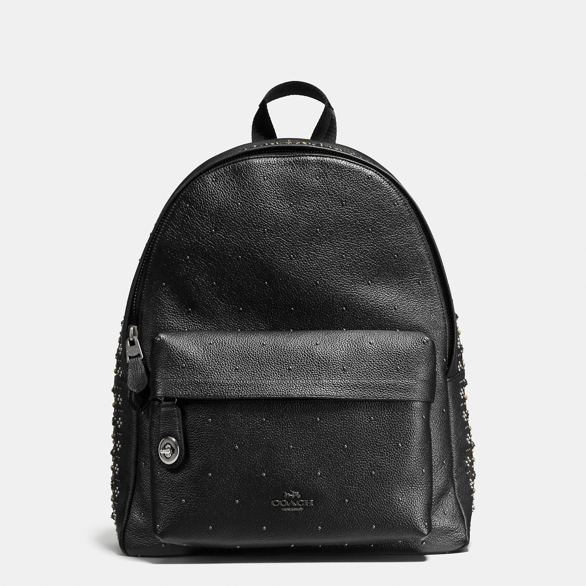 Coach Bandana Rivets Campus Backpack In Pebble Leather
