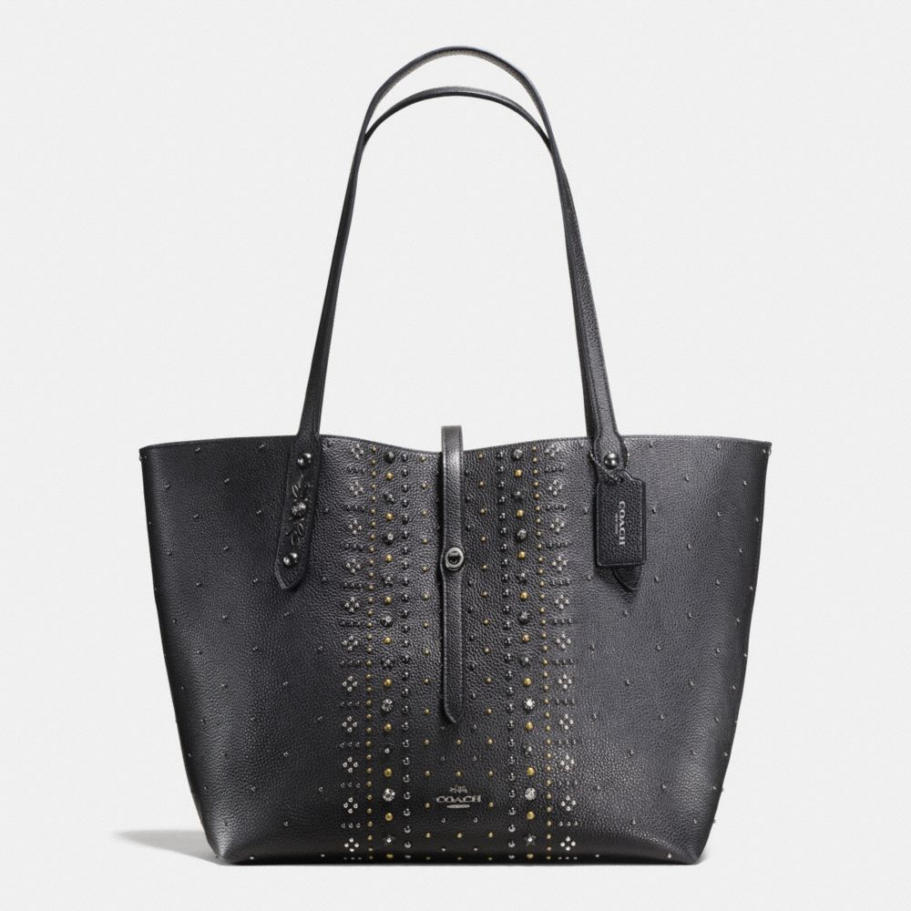 BANDANA RIVETS MARKET TOTE IN PEBBLE LEATHER
