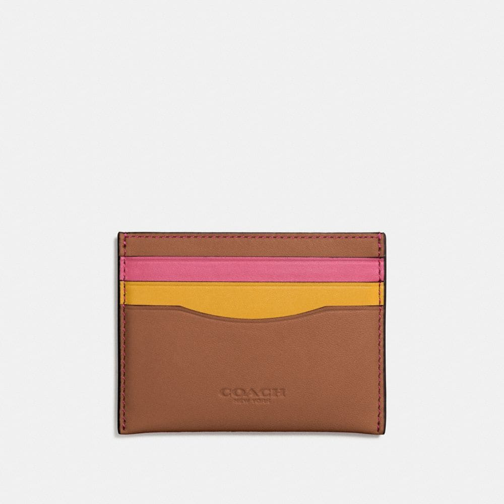 FLAT CARD CASE IN COLORBLOCK GLOVETANNED LEATHER