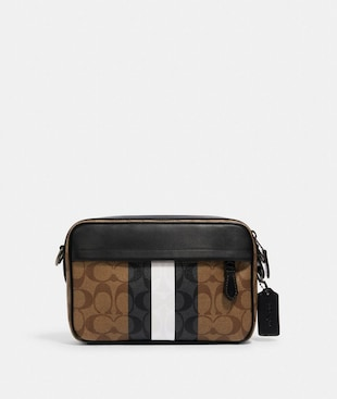 GRAHAM CROSSBODY IN BLOCKED SIGNATURE CANVAS WITH VARSITY STRIPE