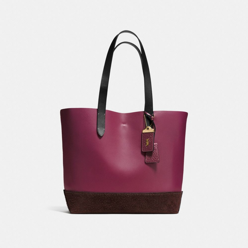GOTHAM TOTE IN MIXED MATERIALS