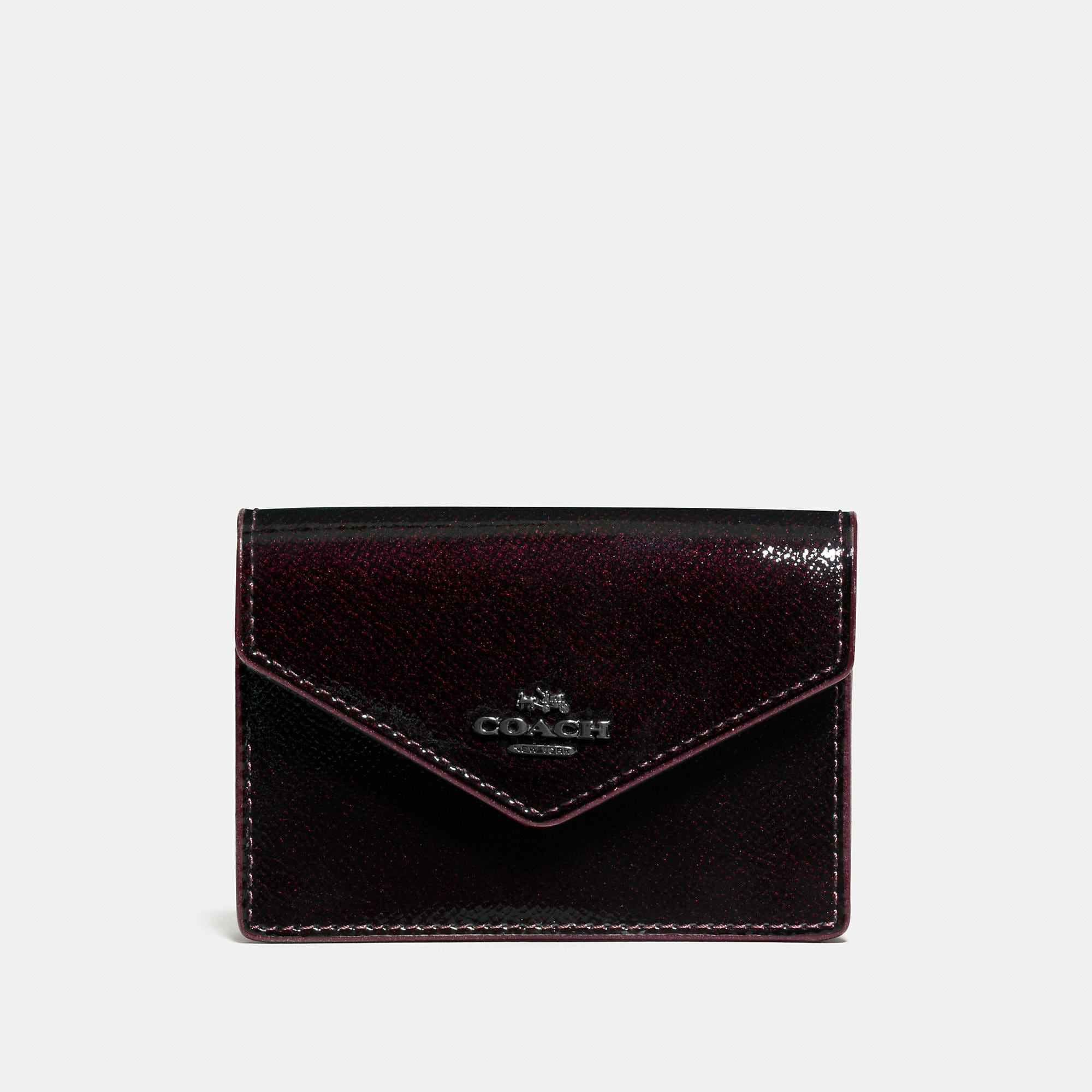 Coach Envelope Card Case In Patent Leather