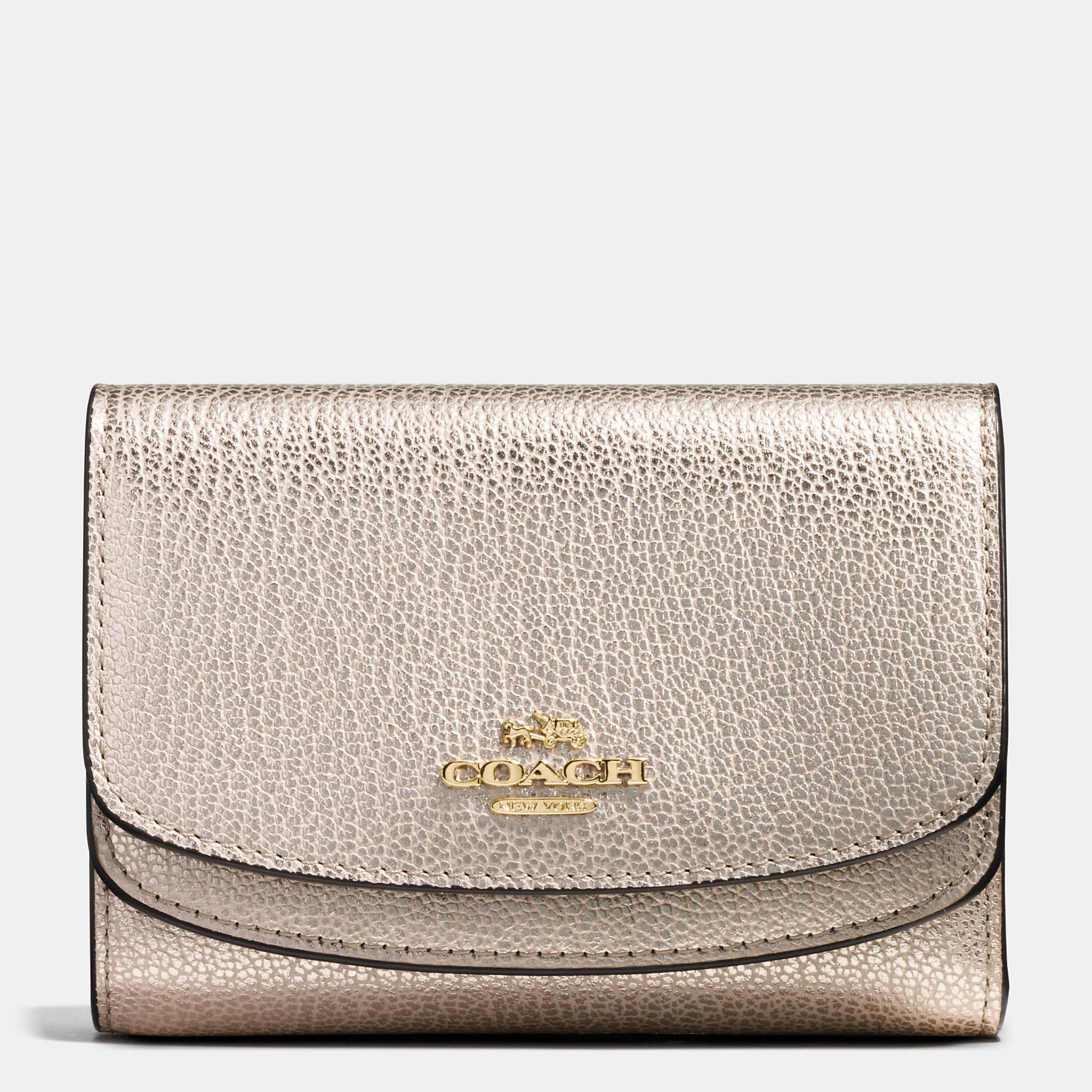 Coach Medium Double Flap Wallet In Pebble Leather