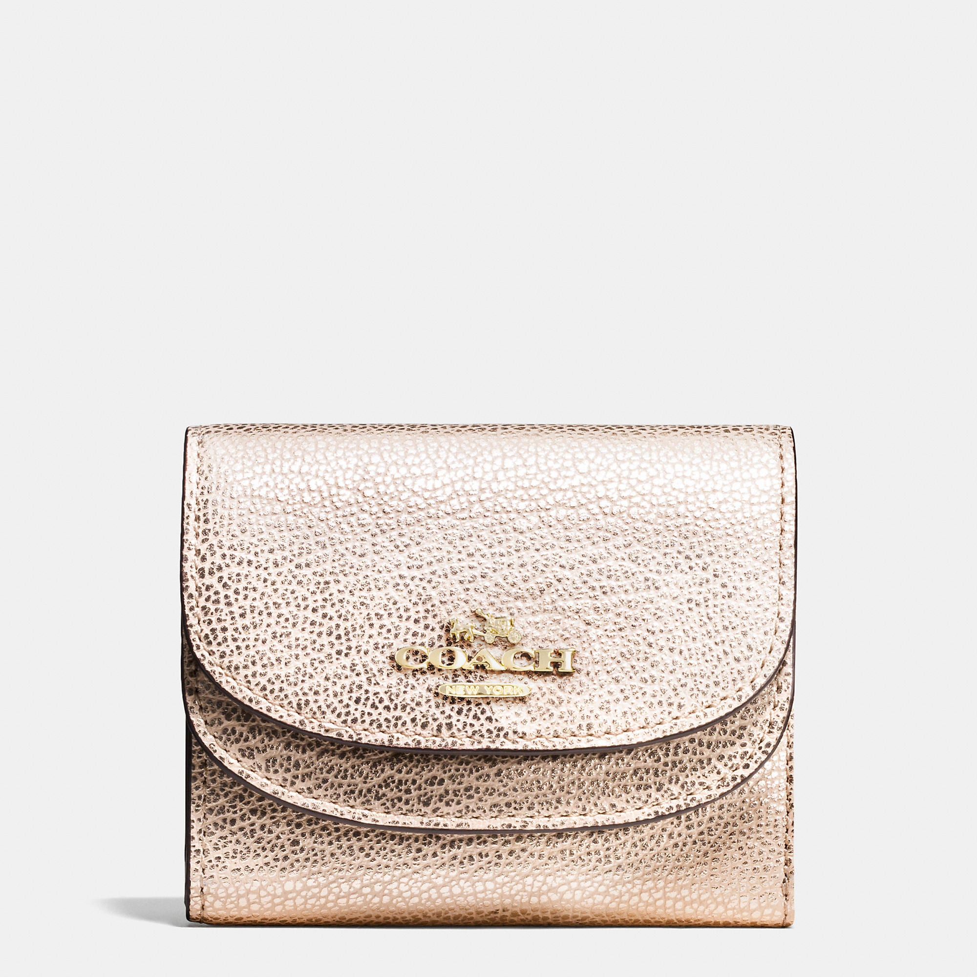 Coach Double Flap Small Wallet In Pebble Leather