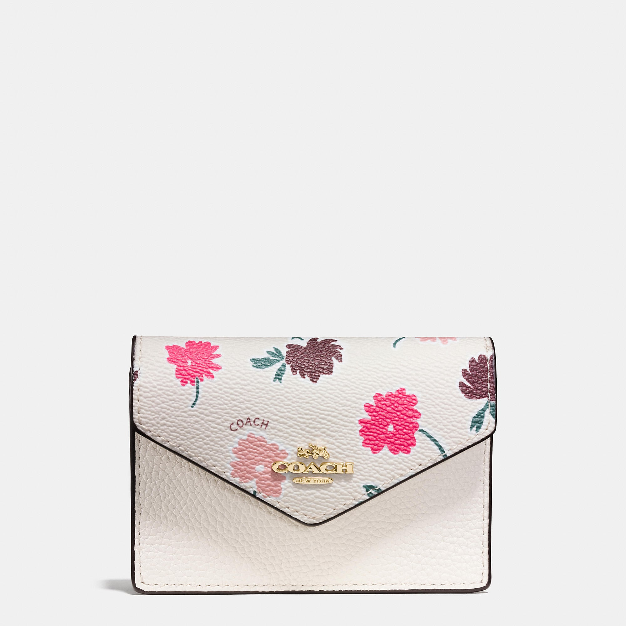 Coach Envelope Card Case In Daisy Field Print Coated Canvas
