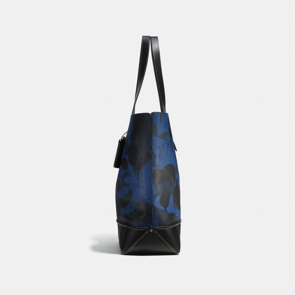 GOTHAM TOTE IN DENIM WILD BEAST PRINT PEBBLE LEATHER - Alternate View A1