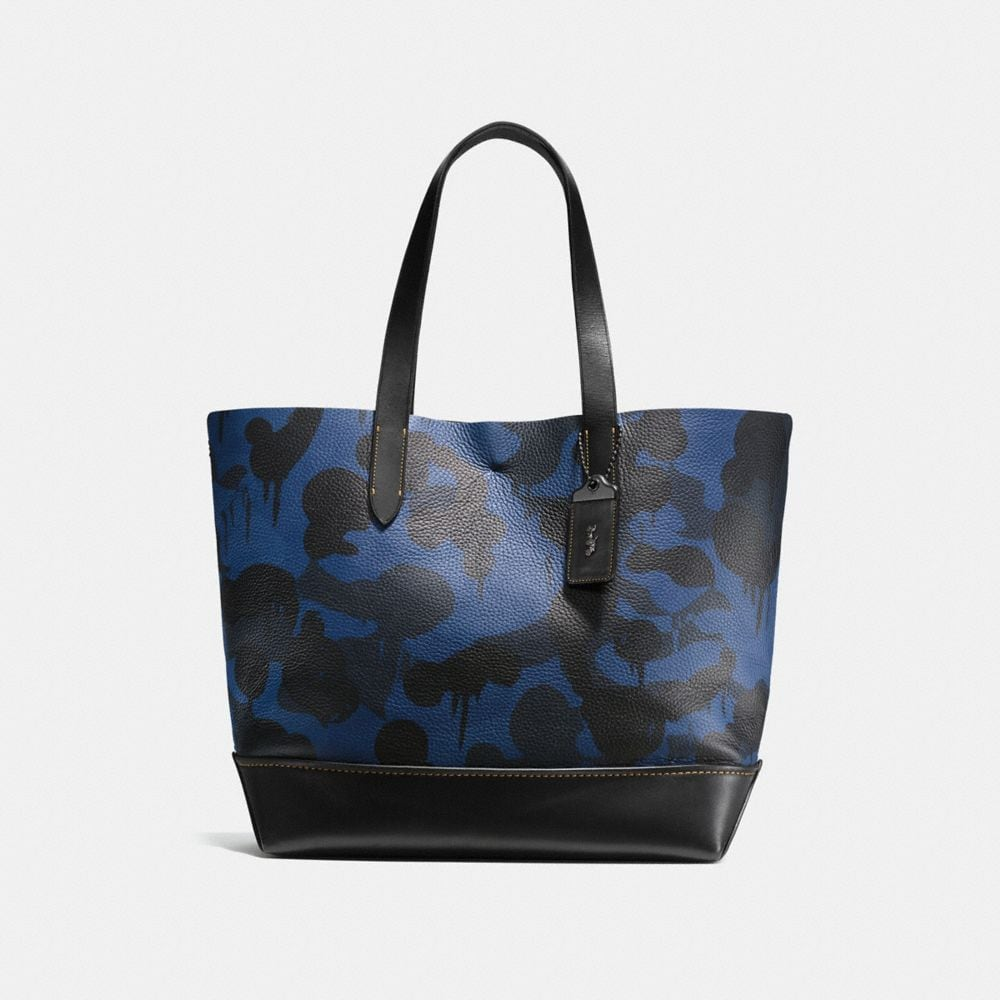 GOTHAM TOTE IN DENIM WILD BEAST PRINT PEBBLE LEATHER