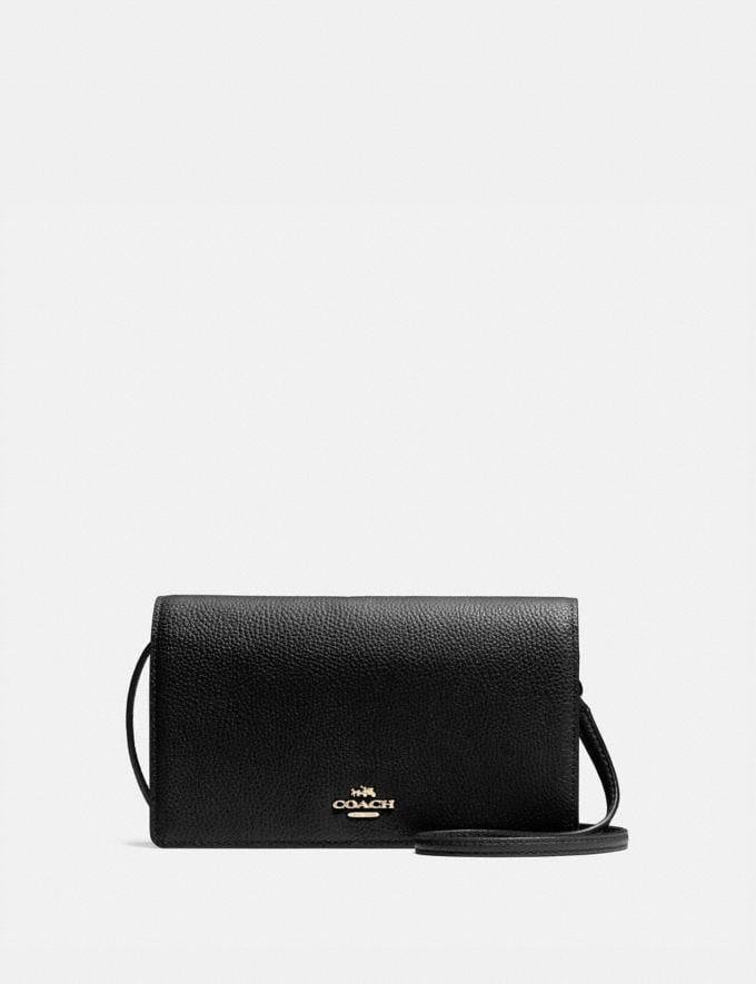 Coach Hayden Foldover Crossbody Clutch Black/Light Gold 30% off Select Full-Price Styles