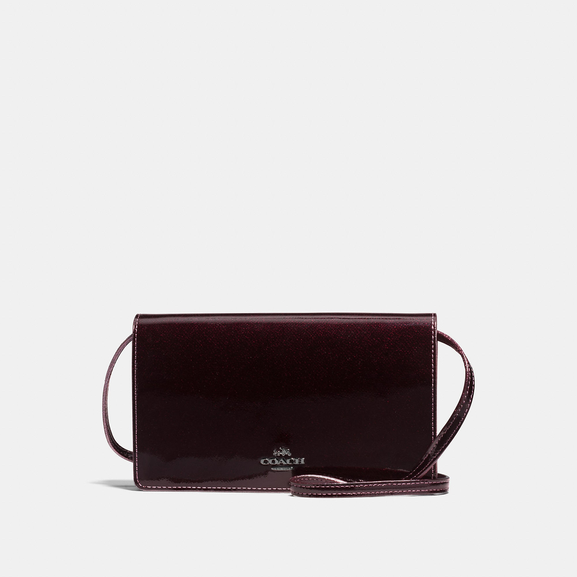 Coach Foldover Crossbody In Patent Leather