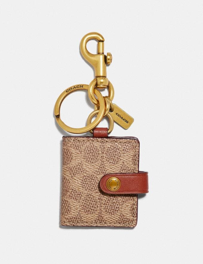 Coach Picture Frame Bag Charm in Signature Canvas Khaki/Brass Women Collection Signature