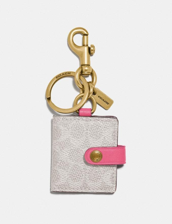 Coach Signature Picture Frame Bag Charm B4/Chalk/Confetti Pink Women Accessories Bag Charms & Key Rings