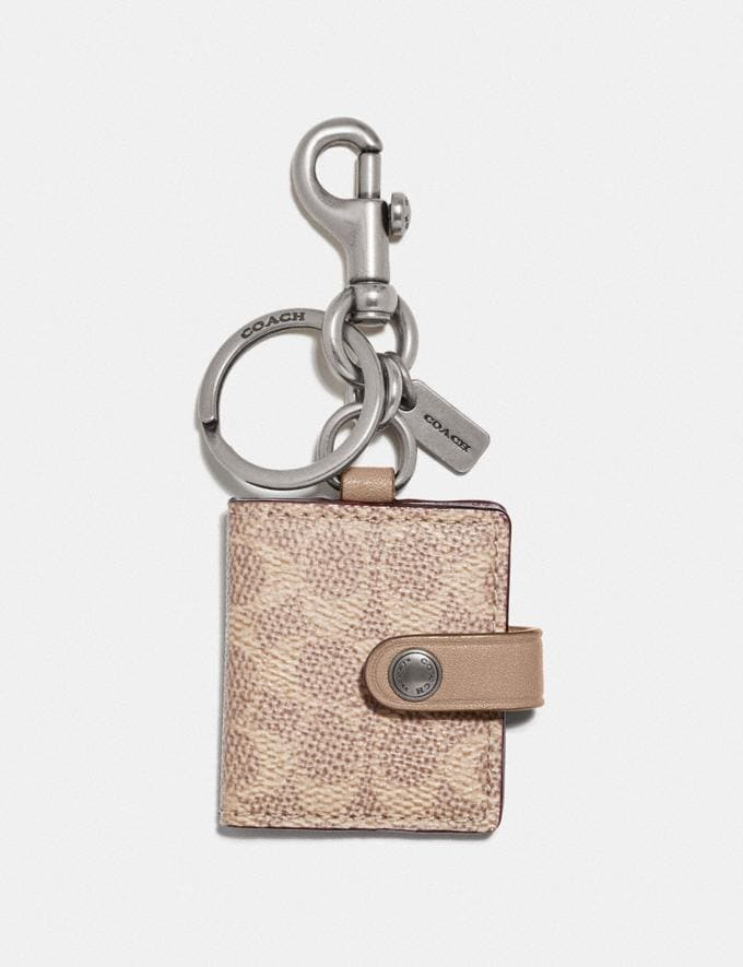 Coach Picture Frame Bag Charm in Signature Canvas Nickel/Sand/Taupe Women Accessories