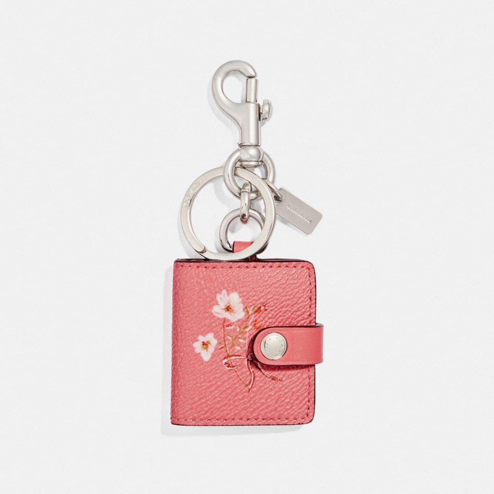 Coach Picture Frame Bag Charm With Floral Bow Print