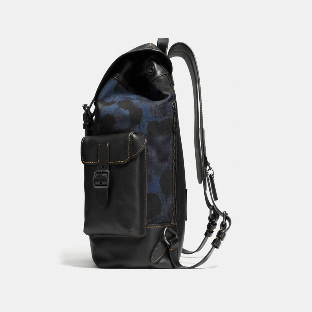 Gotham Backpack in Wild Beast Print Denim - Alternate View A1