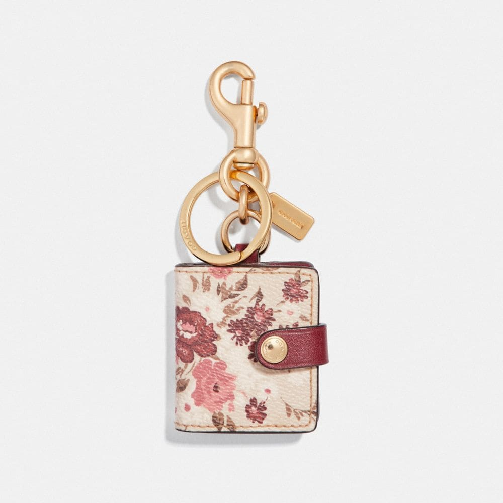 PICTURE FRAME BAG CHARM WITH FLORAL BUNDLE PRINT