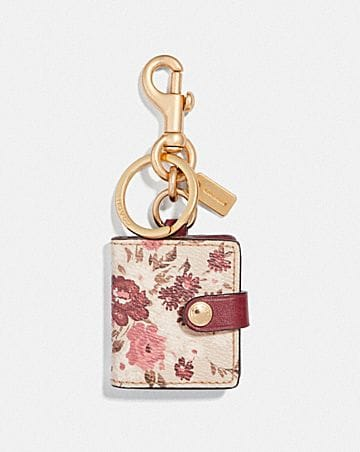 PICTURE FRAME BAG CHARM WITH FLORAL BUNDLE PRINT 49aefa938