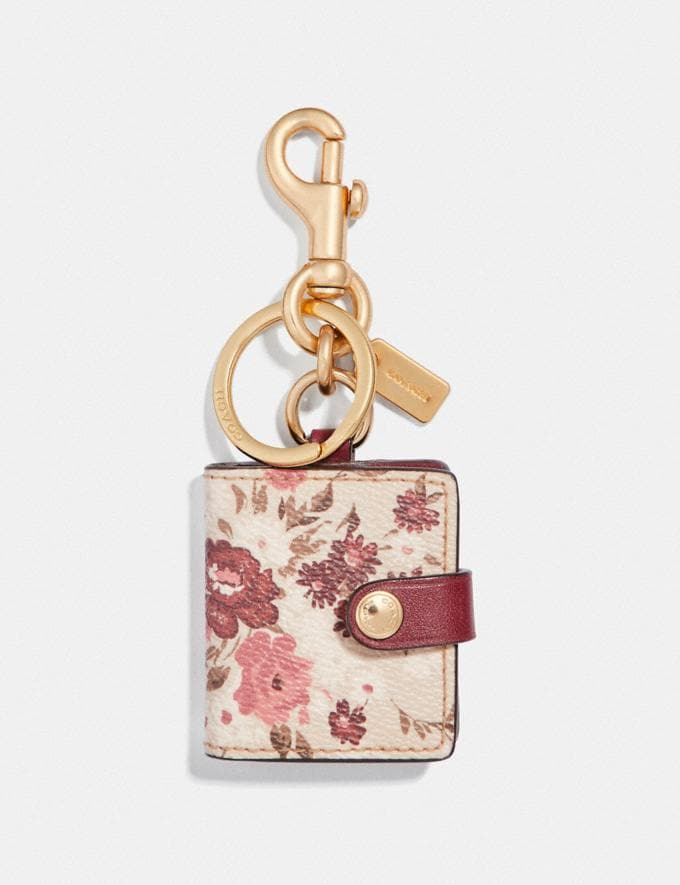 Coach Picture Frame Bag Charm With Floral Bundle Print Oxblood/Light Gold Women Accessories Bag Charms & Key Rings