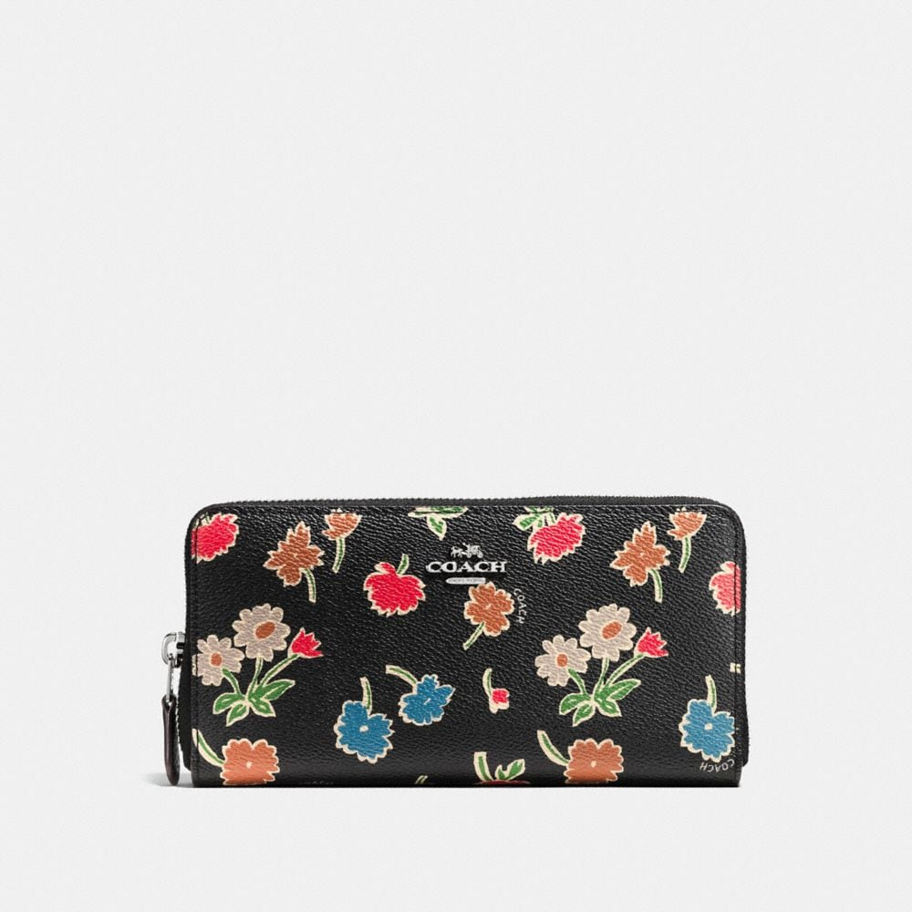 ACCORDION ZIP WALLET IN DAISY FIELD PRINT COATED CANVAS