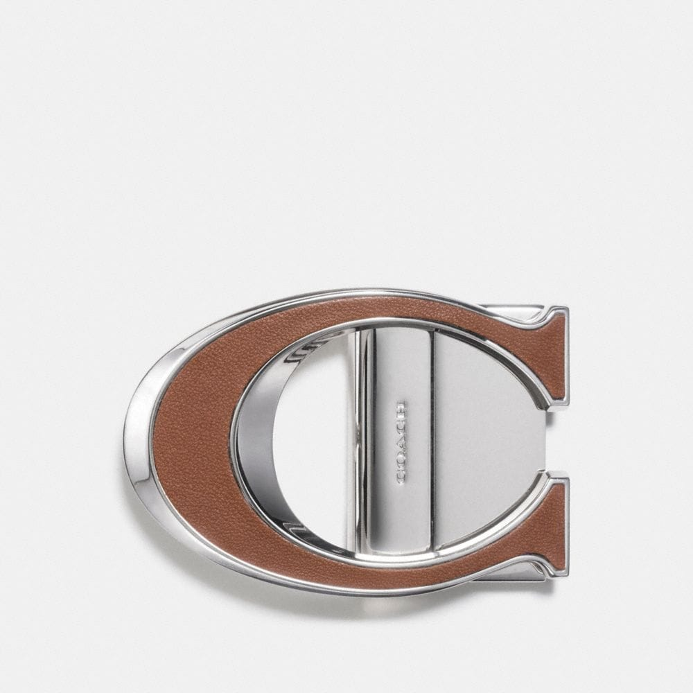 LEATHER INLAY SCULPTED C BUCKLE