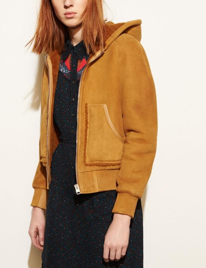 Coach Suede Shearling Hoodie Honey DEFAULT_CATEGORY