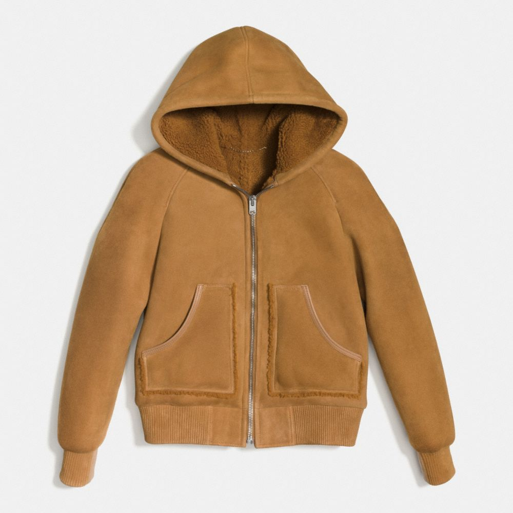 Coach Suede Shearling Hoodie Alternate View 1