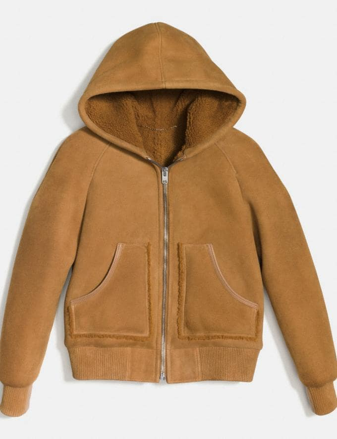 Coach Suede Shearling Hoodie Honey DEFAULT_CATEGORY Alternate View 1