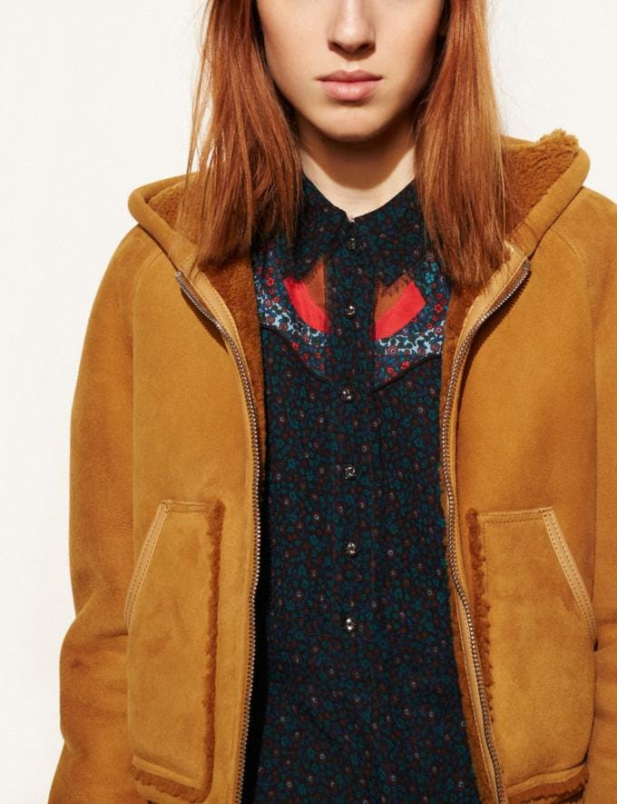 Coach Suede Shearling Hoodie Honey DEFAULT_CATEGORY Alternate View 2