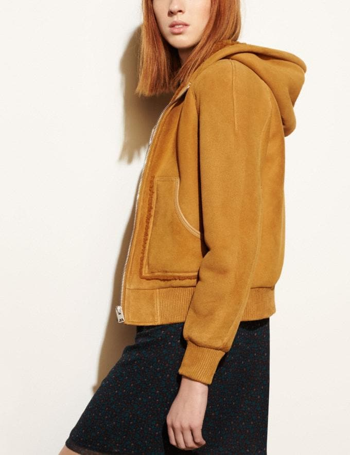 Coach Suede Shearling Hoodie Honey DEFAULT_CATEGORY Alternate View 3